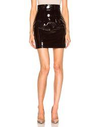 Zeynep Arcay - High Waisted Leather Mini Skirt In Dark Plum - Lyst