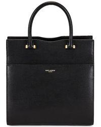 Saint Laurent Small Uptown Grain De Poudre Cabas Bag - Black