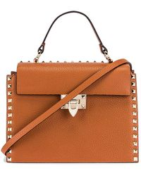 Valentino Rockstud Top Handle Bag - Brown