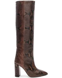 Paris Texas Knee High Python Print Boot - Braun