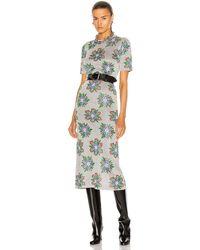 Paco Rabanne - Printed Floral Long Sleeve Midi Dress - Lyst