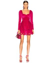 Self-Portrait Tiered Velvet Mini Dress - Pink