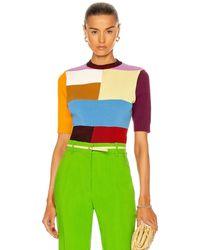 Victoria Beckham Patchwork Knit Short Sleeve Top - Multicolour