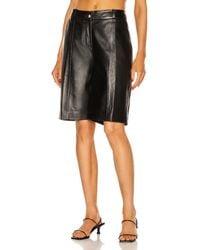 Loulou Studio Kiltan Leather Bermuda Short - Black