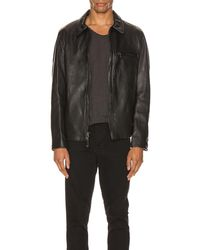 Schott Nyc Collar Lamb Leather Jacket - Black