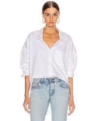 R13 Oxford-Bluse mit weitem Kragen - Weiß