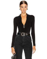 Enza Costa Italian Viscose Mock Neck Zip Bodysuit - Black