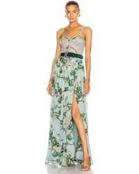 PATBO Floral Bustier Belted Maxi Dress - Blue