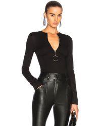 Mugler - Jersey Zip Up Bodycon Bodysuit - Lyst