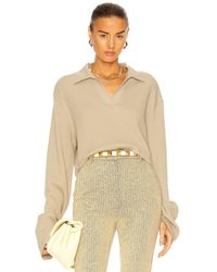 The Range Cropped Polo Top - Natur
