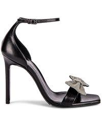 Saint Laurent Amber Bow Ankle Strap Heels - Black