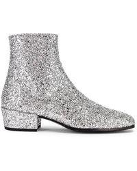 Saint Laurent Caleb Glitter Zip Boots - Metallic