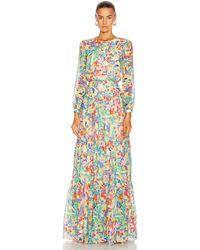 Saloni Isabel Long Dress - Multicolour