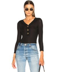FRAME Button Bodysuit In Noir - Black