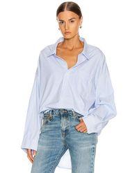 R13 Oxford-Bluse mit weitem Kragen - Blau