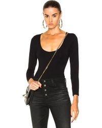 FRAME Denim Cut Out Long Sleeve Bodysuit - Black