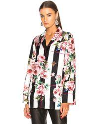 Dolce & Gabbana - Floral Striped Twill Pajama Top - Lyst