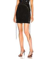 Mugler - Suede Lace Up Detail Mini Skirt - Lyst