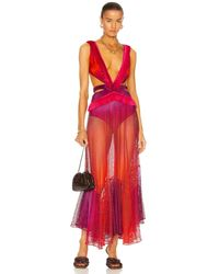 PATBO Ombre Sleeveless Netted Beach Dress - Pink
