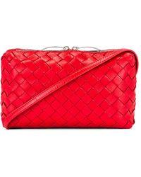 Bottega Veneta Leather Woven Crossbody Bag - Red
