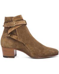 Saint Laurent | Suede Blake Buckle Boots | Lyst