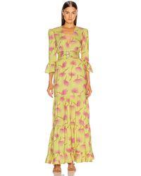 Adriana Degreas Wild Flower Long Dress - Yellow