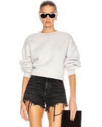 T By Alexander Wang Dense Fleece Bubble Crew Sweatshirt - Gray
