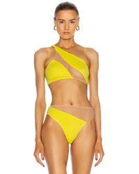 Norma Kamali Snake Mesh Bikini Top - Yellow
