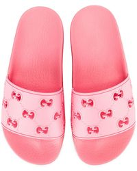 Gucci Bee Rubber Slides - Pink