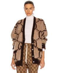 Gucci GG Reversible Long Sleeve Cardigan - Braun