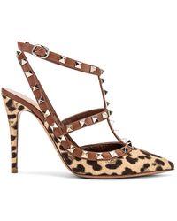 Valentino Leopard-print Rockstud Ankle-strap Pumps - Brown