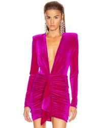 Alexandre Vauthier For Fwrd Plunging Velvet Bodysuit - Purple