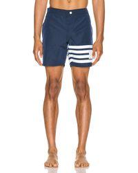Thom Browne Snap Front Swim Short - Blue