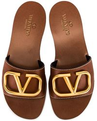 Valentino Garavani Vlogo Leather Sandal - Brown
