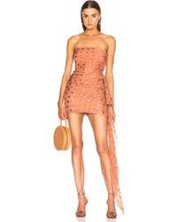 Michelle Mason - Ruched Strapless Dress In Desert Rose - Lyst