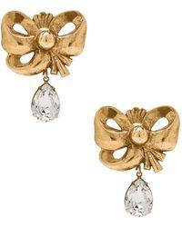Rodarte - Bow Earrings With Teardrop Swarovski Detail - Lyst