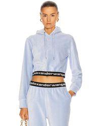 T By Alexander Wang Corduroy Logo Elastic Cropped Long Sleeve Hoodie - Blue