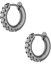 Spinelli Kilcollin Mini Micro Hoop Pave Gris Earrings - Metallic