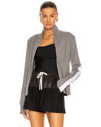 Norma Kamali Side Stripe Turtleneck Jacket - Gray
