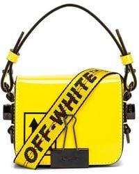 Off-White c/o Virgil Abloh Patent Baby Flap Bag - Gelb