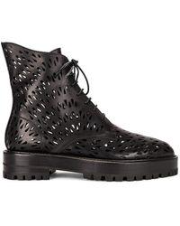 Alaïa Leather Laser Cut Boots - Black