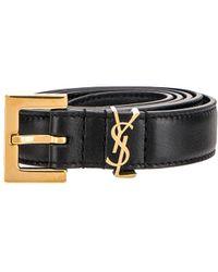 Saint Laurent - Leather Monogramme Belt - Lyst