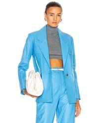 Zeynep Arcay Leather Suit Jacket - Blue