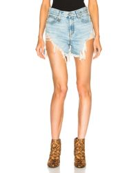 R13 Shredded Slouch Shorts - Blue