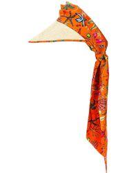Versace Tresor De La Mer All Over Scarf Hat - Orange