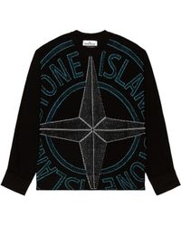 Stone Island Crewneck Knit Sweater - Schwarz