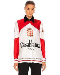 CASABLANCA Printed Classic Silk Twill Shirt - Red
