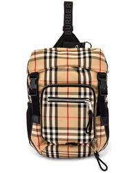Burberry Men's Signature Check Crossbody Backpack - Natural