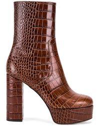 Paris Texas Moc Croco Platform Ankle Boots - Braun