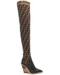 Fendi - Black Forever Cowboy Over-the-knee Sock Boots - Lyst